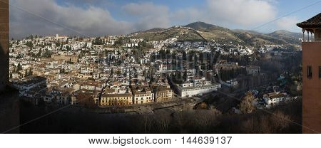 GRANADA, SPAIN - JANUARY 12, 2016: Panorama of El Albayzin district in Granada, Andalusia, Spain, pictured from the Nasrid Palaces in the Alhambra.