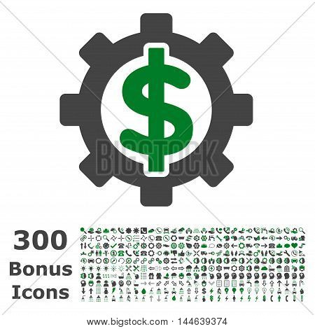 Financial Options icon with 300 bonus icons. Glyph illustration style is flat iconic bicolor symbols, green and gray colors, white background.