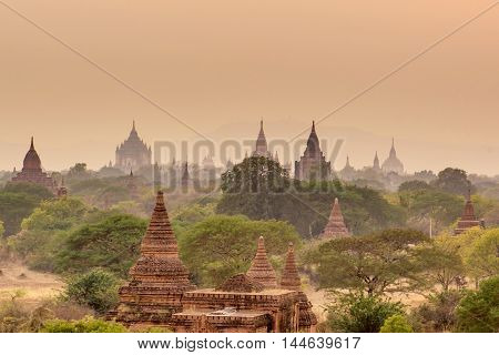 Sunset at Pagoda landscape in the plain of Bagan Myanmar (Burma)