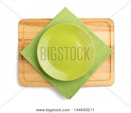 cutting board and plate isolated on white background