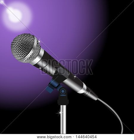 microphone with a cord on a Spotlight background 3.  Vector.