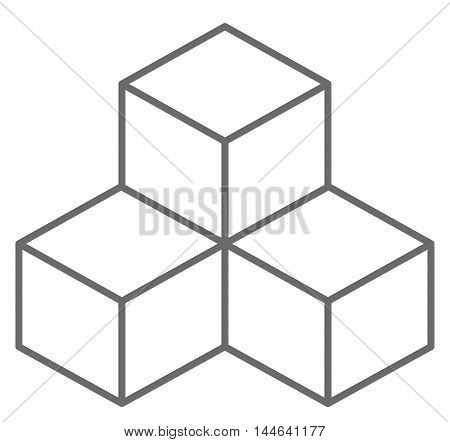Gray cubes. Vector illustration on white background