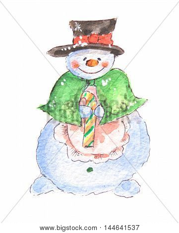 Isolated watercolor snowman. Funny and smiling snowman with candy on white background. Symbol of Christmas and New Year.