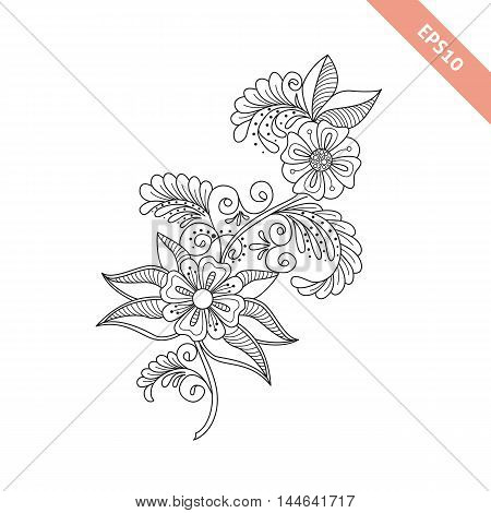 Hand drawn cute floral background doodle style. Design for cover bag knapsack notebook datebook greeting card . Coloring book page.