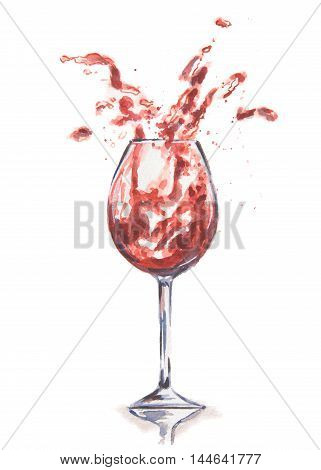 Watercolor wine splash. Splash in wine glasses. Beautiful glasses for decoration menu in restaurant or cafe. Alcoholic beverage.