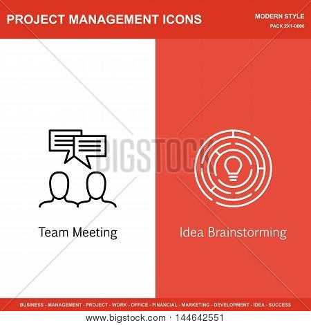 Set Of Project Management Icons On Team Meeting And Creativity. Project Management Icons Can Be Used