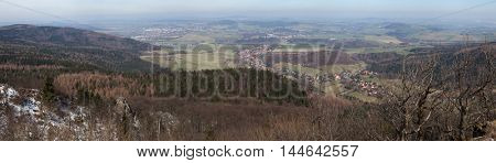 Panoramic view of the Lusatian Mountains on the border between Germany and the Czech Republic pictured from the summit of Mount Lausche (793 m).
