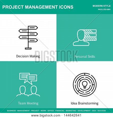 Set Of Project Management Icons On Decision Making, Personality And Idea Brainstorming. Project Mana