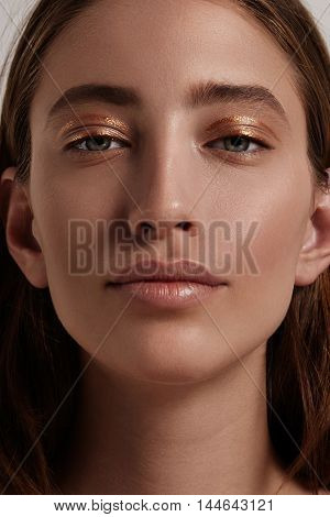 Blonde Woman With A Golden Lines On Eyelid