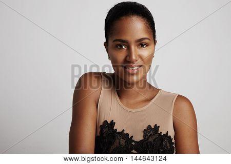 Black Woman In Studio Shoot Is Smiling
