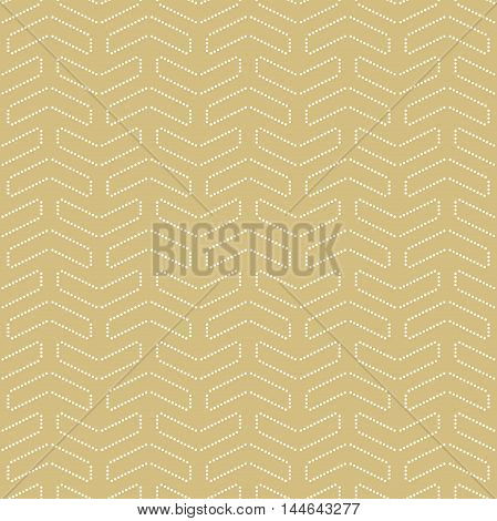 Geometric vector pattern with white dotted arrows. Seamless abstract background