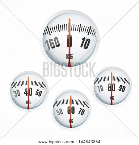 Bathroom Scale Display Set. Symbol of Caring about the Health and Weight. Vector illustration