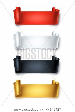 Set of colorful detailed curved ribbons isolated on white background. Curved paper banners.
