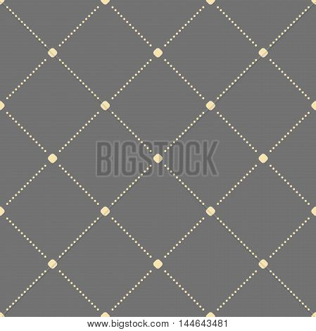 Geometric dotted vector gray and golden pattern. Seamless abstract modern texture for wallpapers and backgrounds