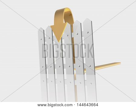 Brown arrow and fence on white reflective background, 3D illustration.