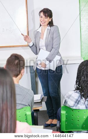 Happy teacher giving a class to a high school group