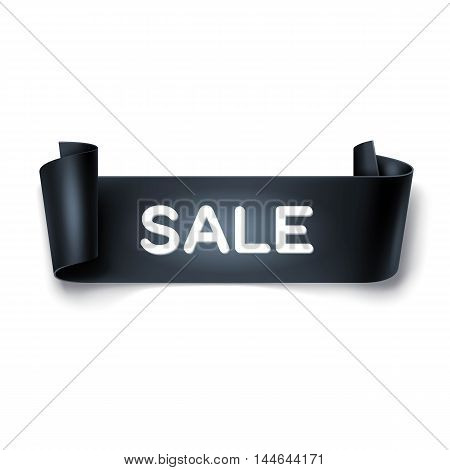Sale inscription on black detailed curved ribbon isolated on white background. Curved paper banner.