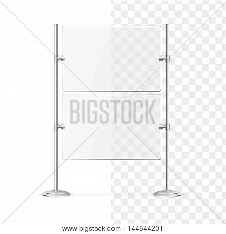 Transparent Glass Screen Banner for Promotion and Presentations. Vector illustration