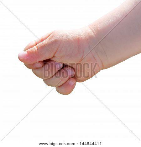 child squeezes fist. baby hand closeup. an isolated
