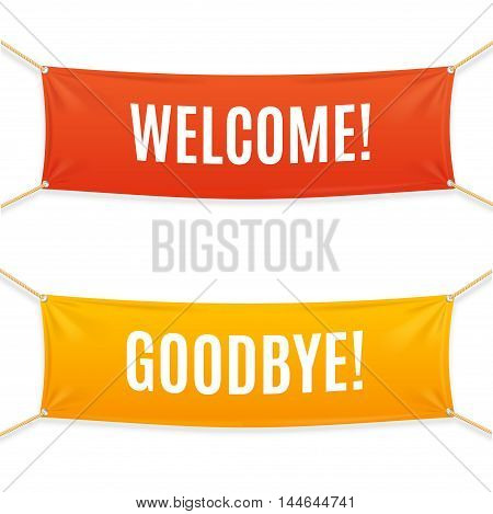 Welcome and Goodbye Textile Banner Set. Vector illustration