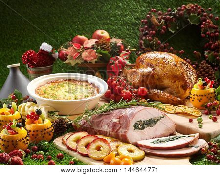 Festive Roast Meats Orange Maple Christmas Turkey and Stuffed Turkey Breast
