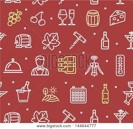 Wine Making Drink Background Pattern on Red. Vector illustration