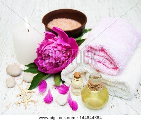 Peony Flowers, Massage Oils And Salt