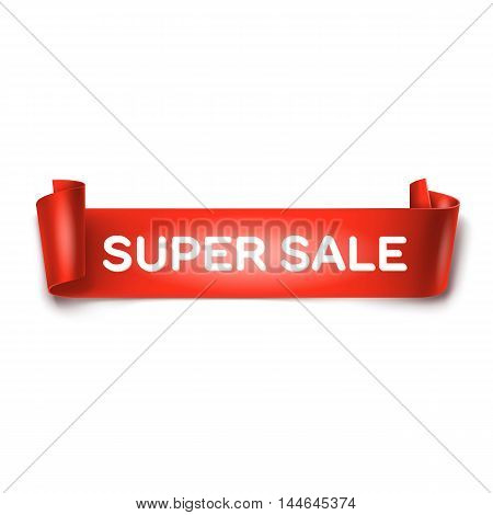 Super sale inscription on red detailed curved ribbon isolated on white background. Curved paper banner.