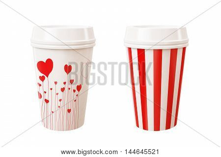 3D illustration red colorful takeaway cups isolated on white background