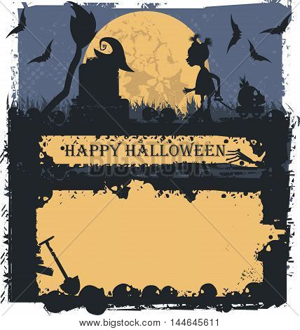 Halloween greeting card with future witch. Can be used for Halloween greeting card, poster and banner.
