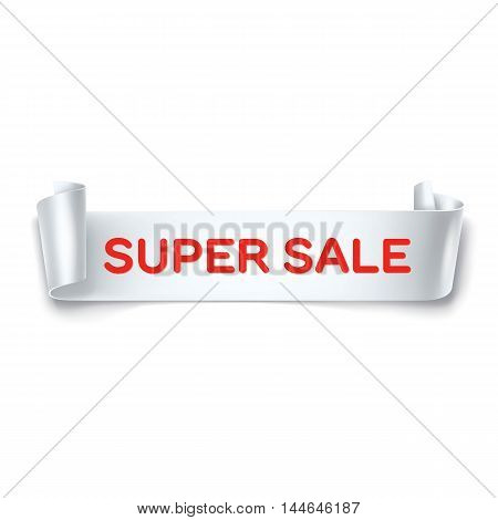 Super Sale inscription on white detailed curved ribbon isolated on white background. Curved paper banner. Vector.