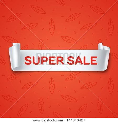 Super Sale inscription on white detailed curved ribbon isolated on red leaves background. Curved paper banner.