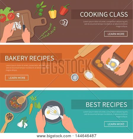 Vector cooking web banners set. Cooking class bakery recipes.
