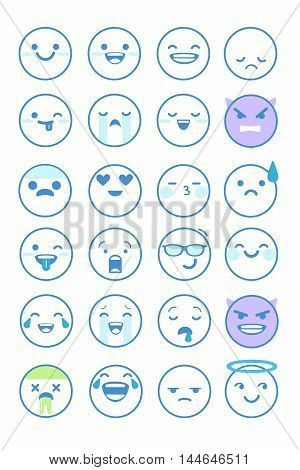 Set of vector emoticons in line style emoji isolated on white background. Cute icons.