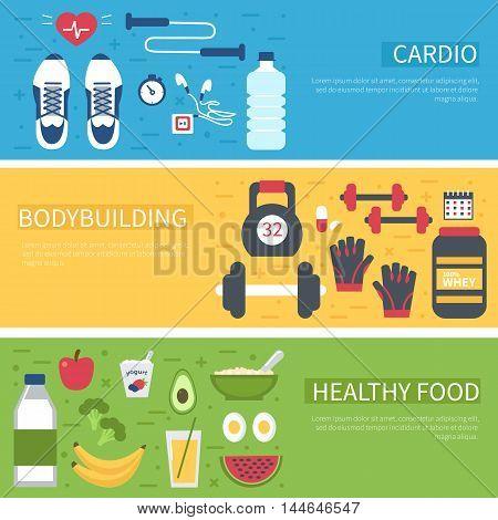Vector fitness banner design. Bodybuilding cardio water healthy food - concept set. Infogaphic elements.