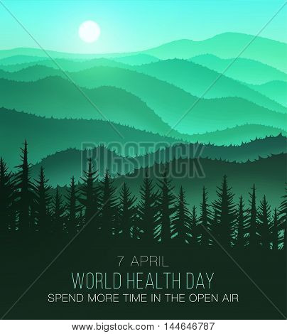World Health Day background with beautiful nature. Often spend time in nature and will be healthy