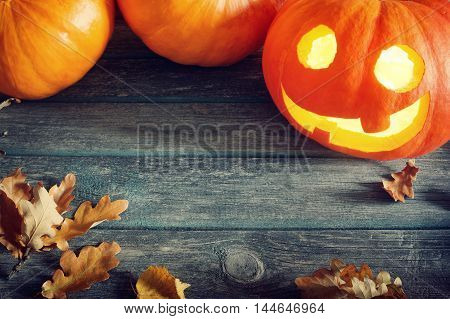 ripe pumpkins for halloween with spooky faces