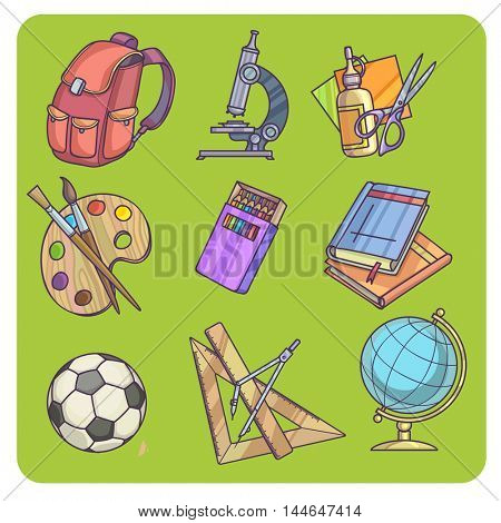 Back to School supplies and learning equipment or office accessories Vector illustration