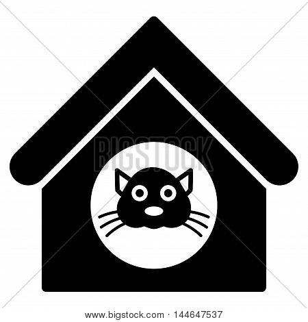 Cat House icon. Vector style is flat iconic symbol, black color, white background.
