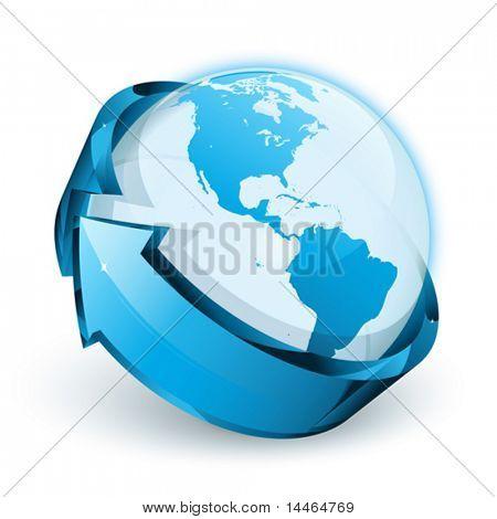 Blue earth with arrow