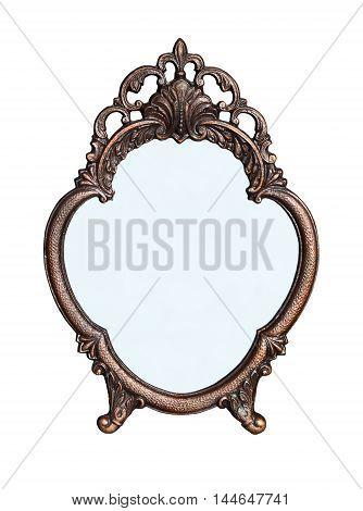 Standing mirror in a metal frame flower