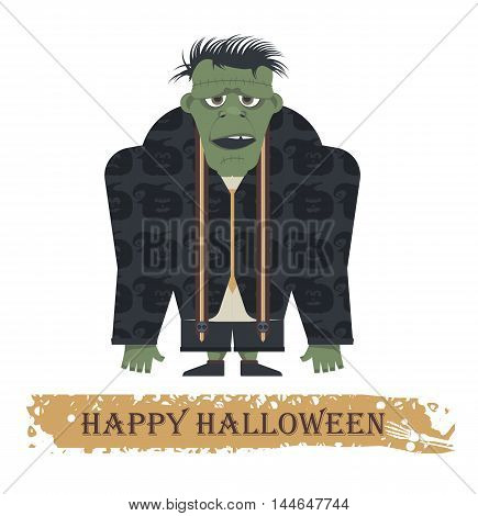 Halloween greeting card with stylish Zombie. Cartoon Illustration can be used for Halloween greeting card ,posters, banners, invitation and more designs.
