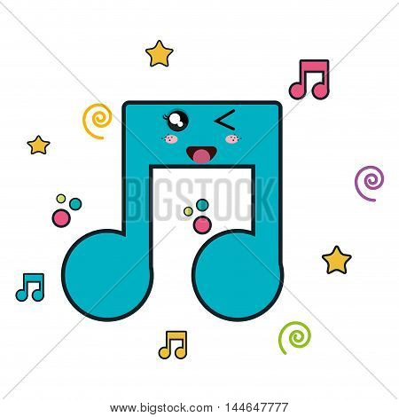 music notes character icon vector illustration design