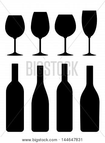 black isolated bottle and glass icon set on white background
