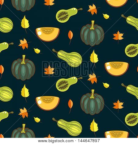 Autumn harvest seamless vector pattern. Pumpkins, zucchini and faded leaves repeat dark green background.