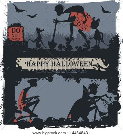 Halloween Illustration for greeting card poster and banner.