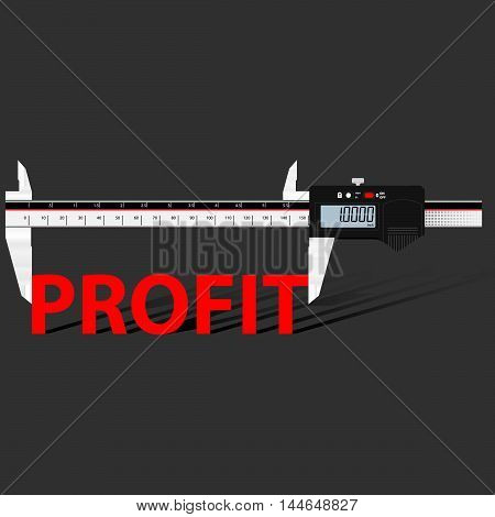Abstract business background with digital slide gauge and title Profit.