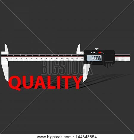 Abstract business background with digital slide gauge and title Quality.  Vector.