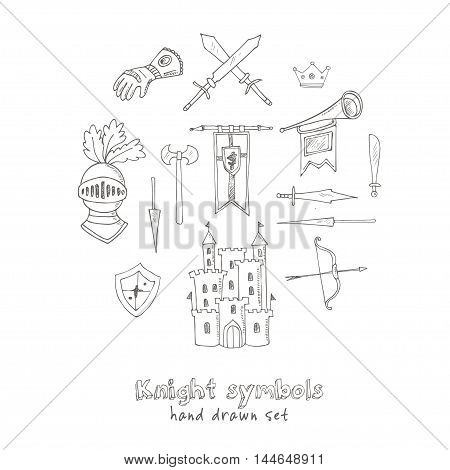 Sketch knight symbols and elements vector set.