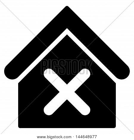 Wrong House icon. Vector style is flat iconic symbol, black color, white background.